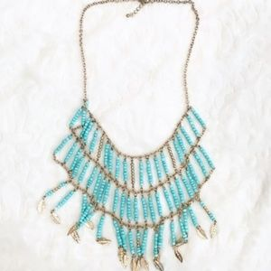 Jewelry - Gold and Blue Beaded Statement Bib Necklace